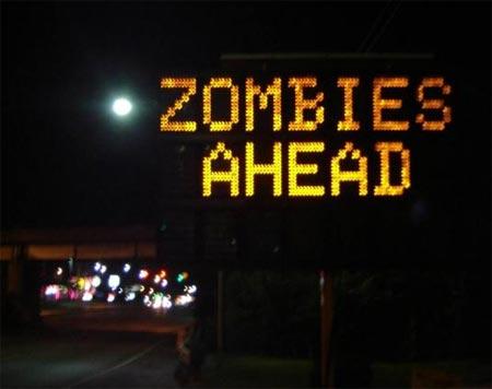 gehackte verkehrsanzeige: achtung zombies!